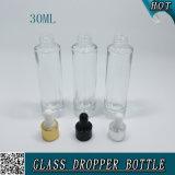 30ml amincissent la bouteille en verre cosmétique claire de compte-gouttes