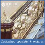 Pasamano de lujo modificado para requisitos particulares de la escalera del oro del bronce del acero inoxidable para de interior