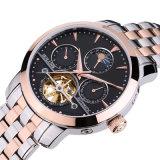 贅沢な腕時計の人の月段階のサファイアの男性防水日付の銀のステンレス鋼自動機械腕時計Relogio