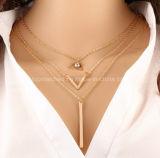 Diseños de múltiples capas del collar del oro de la forma de V del temperamento en 10 gramos de la barra de collar pendiente de la declaración