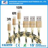 зарядный кабель Золотист-Серебра 1m Nylon Braided для iPhone