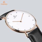 Relógio de aço inoxidável com pulseira de couro, relógio de moda, relógio de ponta 72315