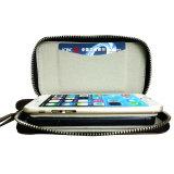 Случай iPhone 7 замка застежки -молнии случая PU бумажника сумки кожаный