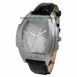 Elegant Stainless Steel Ladies Leather Band Relógios com cristal