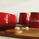 Lo zucchero/caffè/tè del POT dello smalto degli articoli per la tavola dello smalto possono con il coperchio di legno