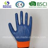 Полиэстер с покрытием нитриловые перчатки работы (SL-N104)