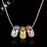 ローズの女の子のための金によってめっきされる方法宝石類の円の吊り下げ式のネックレス