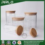 Choc en verre avec le choc en verre anti-calorique de Borosiilcate de couvercle d'Airight de mémoire en bambou de nourriture avec le couvercle en bois