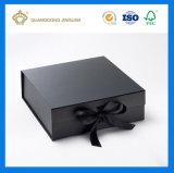 Boîte-cadeau de papier estampée UV de luxe avec la fermeture de bande (usine apurée par GV)
