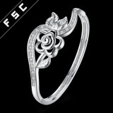 Braccialetto Charming della fioritura del fiore placcato nuovo argento di disegno di modo