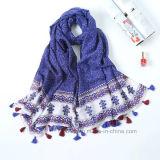 Commerce de gros Retro s'épanouir imprimé de polyester Lady foulard avec des glands (HP11)