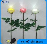 Indicatore luminoso solare di stile artificiale facoltativo della Rosa di quattro colori per la decorazione esterna