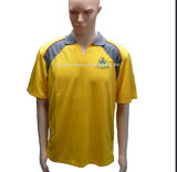 Cheap Polo Impressionnel Polo Jaune Manches Courtes Polyester