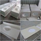 Casa de banho de pedra de quartzo da engenharia de branco e bancada de cozinha