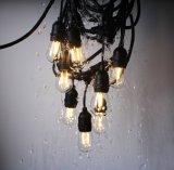 luces de la cadena de los 48FT LED con 15 socketes y bucles colgantes, bulbos de 18 x 0.9 vatios S14 (3 repuestos) - de interior/luces al aire libre de la cadena, Str comercial (L200.025.00) de X E26