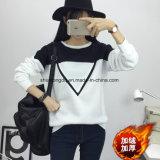 Da camisola preto e branco nova do pulôver do teste padrão das mulheres V de Hoodies dos retalhos da cor do período da forma do inverno fato de desporto fêmea M-XXL