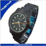 Het waterdichte Houten Gemerkte Horloge van het Roestvrij staal van het Horloge van het Kwarts van het Horloge terug