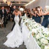 O vestido nupcial da sereia perla os vestidos de casamento L66 de Tulle do laço de Alencon