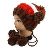 Chapéu quente de inverno de malha de mão de alta qualidade com flor POM POM