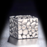 Anel de dedo Shaped do ouro branco do quadrado novo do projeto sem pedra