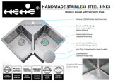 ステンレス鋼のハンドメイドの台所の流し、対称のハンドメイドの流し、ステンレス鋼の半径の倍ボールのハンドメイドの台所の流し