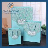 Bolsa de papel azul romántica de embalaje de la boda de Tiffany (CMG-MAY-056)
