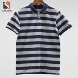 Hommes Hommes Colorblock Dyemercerised de fils de coton spandex Jersey simple Stripe Polo Shirt