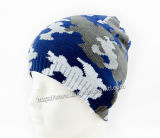 Al aire libre personalizados Camo Jaqard Kintted Beanie Hat