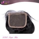 Chiusura nera naturale peruviana della parte superiore del merletto dei capelli umani del Virgin
