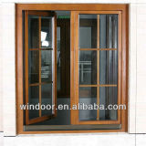 Estilo Europen revestido de aluminio puerta de entrada de madera
