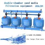 Filtro de media de cuatro cilindros del agua del flujo del sistema /Large de la filtración de los media de la arena del Doble-Compartimiento