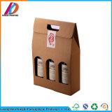 E-flûte personnalisé Papier ondulé 2 bouteilles d'emballage/boîte de 3 bouteilles de vin rouge avec poignée