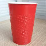 Copos vermelhos plásticos geados descartáveis do partido da superfície 16oz PP