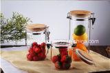 Vaso di vetro con il coperchio della clip del metallo per il vaso di vetro di memoria della cucina