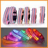 Stripe Design Nylon clignotant Light up LED Dog Collar