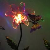 Fiore di plastica trasparente solare con l'indicatore luminoso della mosca/ape/uccello del burro
