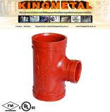 FM/UL Lutte contre les incendies de fonte ductile Té de réduction d'accouplement cannelé.
