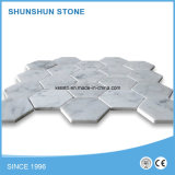 Petite mosaïque de marbre blanc rond pour la décoration