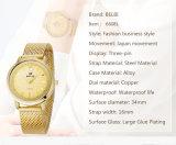 Relojes impermeables del cuarzo de la superficie ocasional del clavo de la manera del reloj de las señoras de la marca de fábrica de Belbi para el oro de las mujeres, negro, regalo de cumpleaños tricolor de plata de Gril de la hermana de la esposa