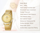 Belbi 상표 숙녀 손목 시계 형식 우연한 못 표면 여자 금, 검정을%s 방수 석영 시계는, 3개의 색깔 아내 자매 Gril 생일 선물을 은도금한다