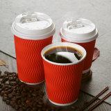 8oz 12oz 16oz Kop van de Koffie van het Document van de Rimpeling de Muur Golf met Deksel