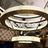 Modern Hanging Gold Big Art Deco Copper Brass Circle LED Anneau Light Chandelier