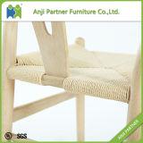 Amarillo claro Conveniant cera comedor de madera con silla de papel de ratán (Andrea)