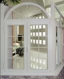 アーチ形にされた上(PCW-010)が付いている贅沢なヨーロッパ式の二重ガラスをはめられたPVC開き窓のガラス窓