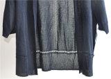 Casaco de lã dianteiro aberto das mulheres da malha da luva longa