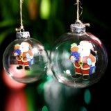 Noël Bille de verre avec Santa Clause for Tree ornement, Bille de verre comme cadeau de Noël