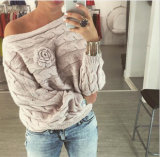"""Garganta redonda feita malha do pulôver do inverno/outono do revestimento da camisola das senhoras forma """"sexy"""""""