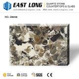 Pedra artificial de quartzo com vidro Sparkling preto de Brown para Countetops