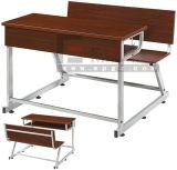 Mesa e banco dobro de madeira novos do estudante da mobília de escola do projeto