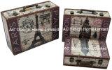 S/3 Antigüedades decoración diseño vintage de Big Ben la impresión de cuero de PU/cuadro de la maleta de almacenamiento de madera MDF